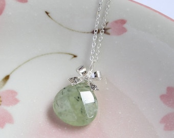 Prehnite Necklace, Mint Green Prehnite Pendant, Silver Chain, Dainty Bow, Wire Wrapped Jewelry