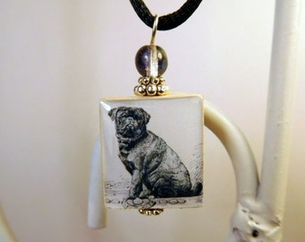 PUG Dog Jewelry Scrabble Pendant with Cord / Beaded / Dog Charm