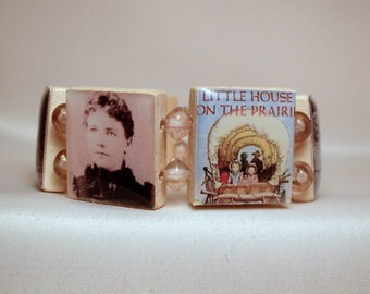 LAURA INGALLS WILDER / Book Lover Gift / Little House on the Prairie / Scrabble Bracelet / Jewelry