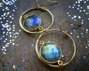 Labradorite earrings, hoop earrings, gemstone earrings, bezel stones, custom earrings, frozen fire, gold earrings, otis b, briguysgirls