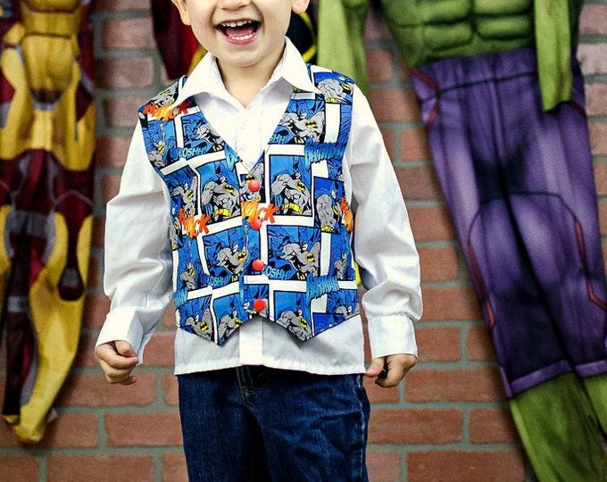 Kids Batman Clothes - Boys Batman Vest - Toddler Birthday - Toddler Boys Vest - Little Boys Clothes - Boutique Boy - Sizes 1...