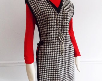 1960s mod open side dress/ 60s black and white apron dress/ 60s houndstooth wool dress