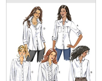 Misses Fitted Shirts, Length & Front Variations, Size 6 -8 -10 -12 or 14 -16 -18 -20 -22 Butterick B5526 Sewing Pattern- UNCUT