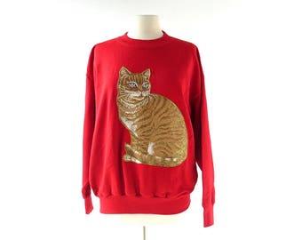 Vintage Cat Sweatshirt   Sparkle Kitty   80 Sweatshirt   XL XXL