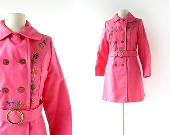 Vintage Pink Trench Coat   Spring Showers   Floral Embroidered Raincoat   60s Jacket   XS S