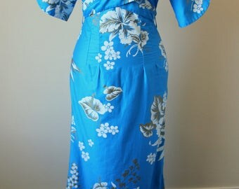 1950s blue hawaiian maxi dress