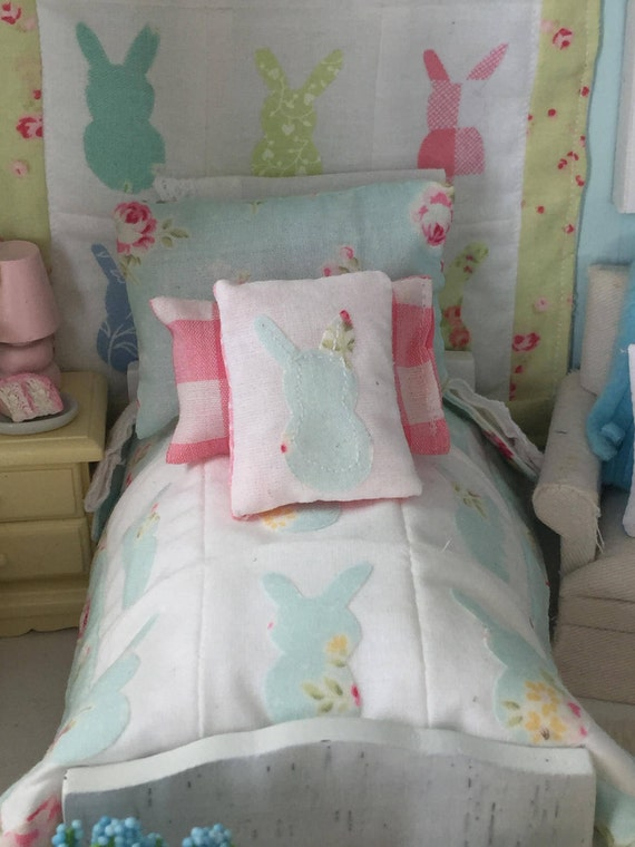 Miniature Bunny Applique Quilt,  Bed and Full Bedding Set with Pillows Dollhouse Scale 1:12