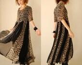 Animal Print Grunge Dress Vintage 90s Leopard + Black Sheer Draped Grunge Maxi Dress (s m l)