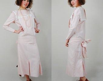 Gunne Sax 20s Style Dress Vintage Sweet Pale Pink Lace Gunne Sax Scott McClintock Drop Waist Dress (s m)