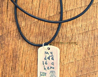 My Dad is a Hero Leather Necklace adjustable length military veteran family spouse child air force army marines navy dogtag dog tag USA flag