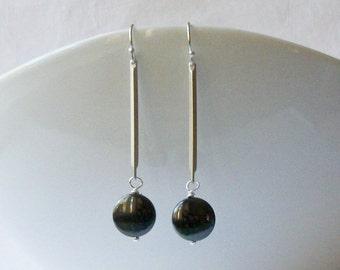 Gray Hematite Earrings, Modern and Minimal Jewelry