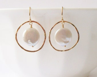 Coin Pearl Circle Earrings, Pearl Earrings, Pearl Jewelry by Perini
