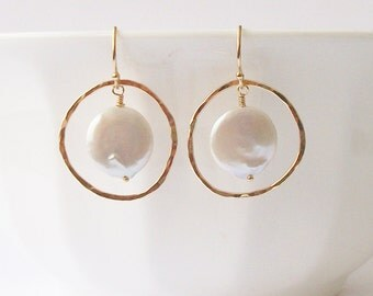 Coin Pearl Circle Dangle Earrings, Pearl Earrings, Pearl Jewelry