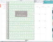 MONTHLY PLANNER | 2017 2018 no weekly view | choose your start month | 12 month calendar monthly tabs personalized | mint tribal pattern
