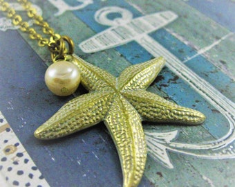 Elegant Starfish Necklace White and Gold Pearl starfish jewelry ocean necklace nautical necklace beach jewelry beach necklace beachy patina