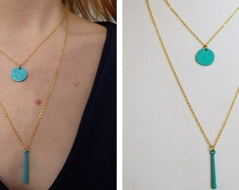 Layered Double Turquoise Charm Necklace