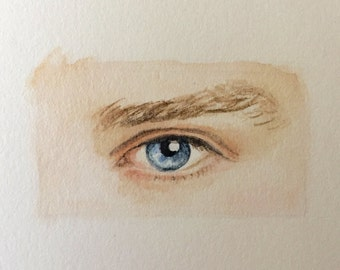 Personalized Eye Miniature Painting (unset) Original Watercolor Lover's eye