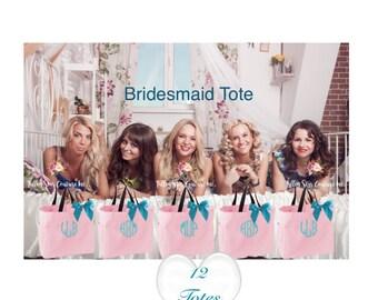 12 bridesmaid tote bags , bridesmaid gifts , tote bag , beach bag , bachelorette party gift ,wedding bag , maid of honor