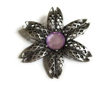 Pink Rhinestone Filigree Flower Brooch Vintage Silver Tone