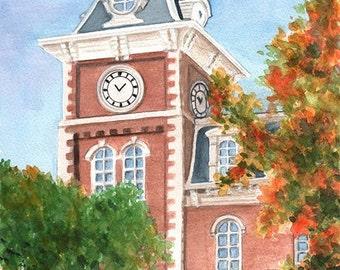 UNIVERSITY of ARKANSAS Old Main, Print Featuring a Watercolor by Suzanne Churchill, Historic Fayetteville Arkansas Building, AR Landmark
