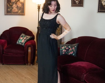 Vintage 1950s Gown - Black Crepe Beaded Tassels Suzy Perette Full Length 50s Wiggle Dress
