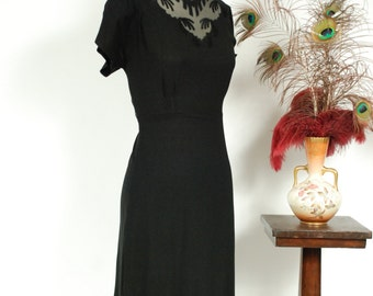 Vintage 1940s Dress - Sultry Black Rayon 40s Cocktail Dress with Sheer Mesh Embroidered Décolletage
