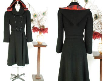 Vintage 1930s Coat - Flattering Late 30s Black Wool Princess Coat with Belted Waist and Detachable Hood with Plaid Lining