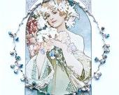 FROST Art Nouveau Choker, Blue Silver Choker, Cottage Chic Choker, Boho Choker, Bridal Choker, Modern Choker, Floral Choker,