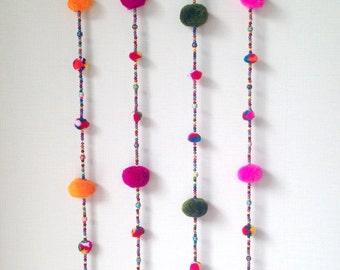 """Pom Pom Garland, Fuchsia, yarn pom pom garland, pastel, party, wedding, yarn ball, colorful, rainbow, mobile, carnival, decoration, 36""""-47"""""""