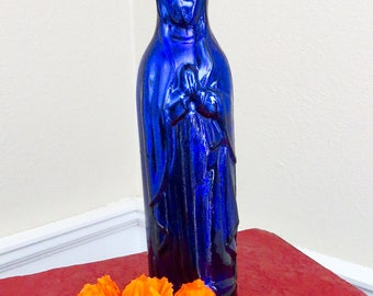 Vintage 13.2 inch GUADALUPE  Holy Water Metallic Glass Bottle with Pontil- Includes Flowers - No Chips or Cracks- stunning and rare