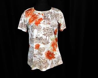 Vintage 70s Nylon Short Sleeve Shirt T-Shirt Top Novelty Park People Pencil Sketch Scene Orange Flowers Unique Kitschy