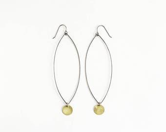Black and brass drop earrings
