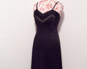 Vintage 1950's slip //  full black slip // 50's sheer chiffon pleated hem