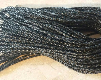 20 Black Faux Leather Cord Necklaces 17 Inches Adjustable with Lobster Clasp