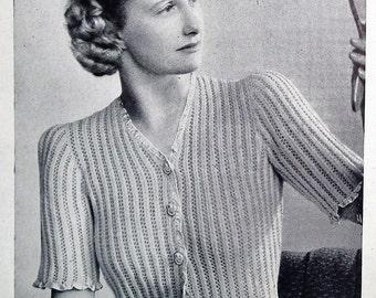 Vintage 1940s Sewing Knitting Needlework Embroidery Magazine - Needlewoman and Needlecraft Oct. 1948 40s original knitting crochet patterns
