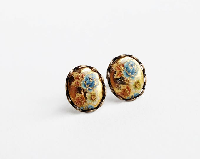 Blue Rose Cameo Post Earrings Yellow Blue Vintage Floral Cameo Studs Hypoallergenic Yellow Blue Rose Jewelry