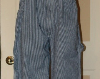 Vintage Key Imperial Bib Overalls, Railroad Striped, Brass Buttons, w38, inseam30