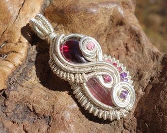Wire Wrapped Pendant ~ Garnet, Pink Tourmaline, Spinel Ruby, Garnet, Amethyst, Sterling Silver, Handcrafted, Genuine Gems, Gypsy, Boho