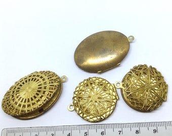 4 Brass Filigree lockets, Oval Filigree Locket, Round Filigree Locket, Golden brass Lockets