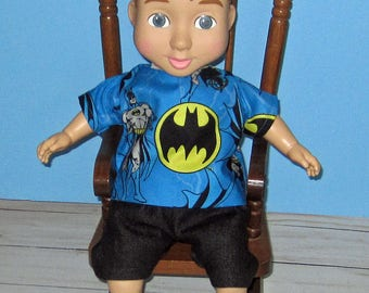 "Wonder Crew, Doll Clothes, Shirt and Short Set,  14""  or 15"" Doll Clothes,  Boy Doll Clothes, Will, James, Erik, Marco"