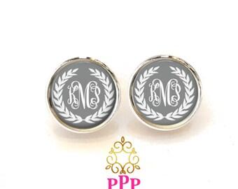 Wreath Monogram Earrings, Monogram Stud Earrings, Personalized Earrings, Style 554