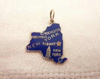 Vintage Sterling Silver Enamel New York Souvenir Charm