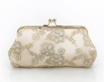 Metallic gold Embroidered Tulle Bridal Clutch in Champagne 8-inches | DAISY
