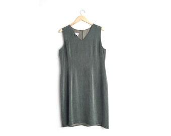 Size L/XL // OLIVE GREEN Dress // Rayon Microsuede - Sleeveless Jumper - V-Neck - Vintage '90s.