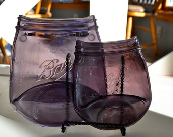 SPECIAL DEAL   SET of 2 Purple Heritage Ball Canning Jars Spoon Rest
