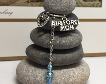 Air Force Mom Rock Cairn, I Love my Soldier, Son, Daughter, Proud, Military, Hero, Patriot, Air Force Mom, Dad, Desk Gift, Air Force Parent