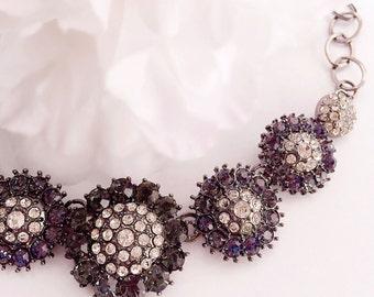 Rhinestone Bib Necklace - Flower - Party Jewelry - Sparkling - NOEL