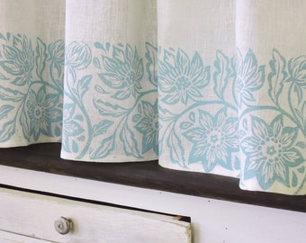 Passionflower white linen cafe curtain hand block printed botanical floral kitchen home decor country french window treatment