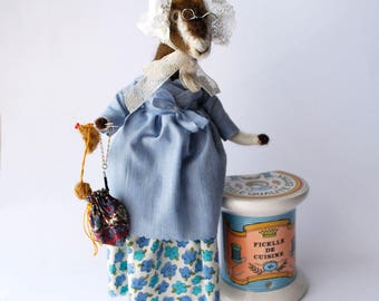 Original Needle Felted Anima Knitting Goat with Vintage Lace Bonnet