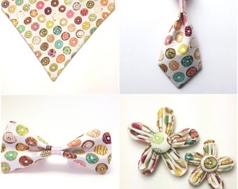 Pet Accessory - Colorful Donut - Over the Collar - Custom - Bandana, Bow Tie, Neck Tie, Flower